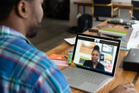 Coworkers meeting virtually.