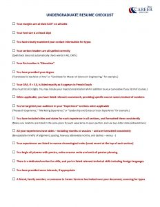 Career Services Undergrad Resume Checklist