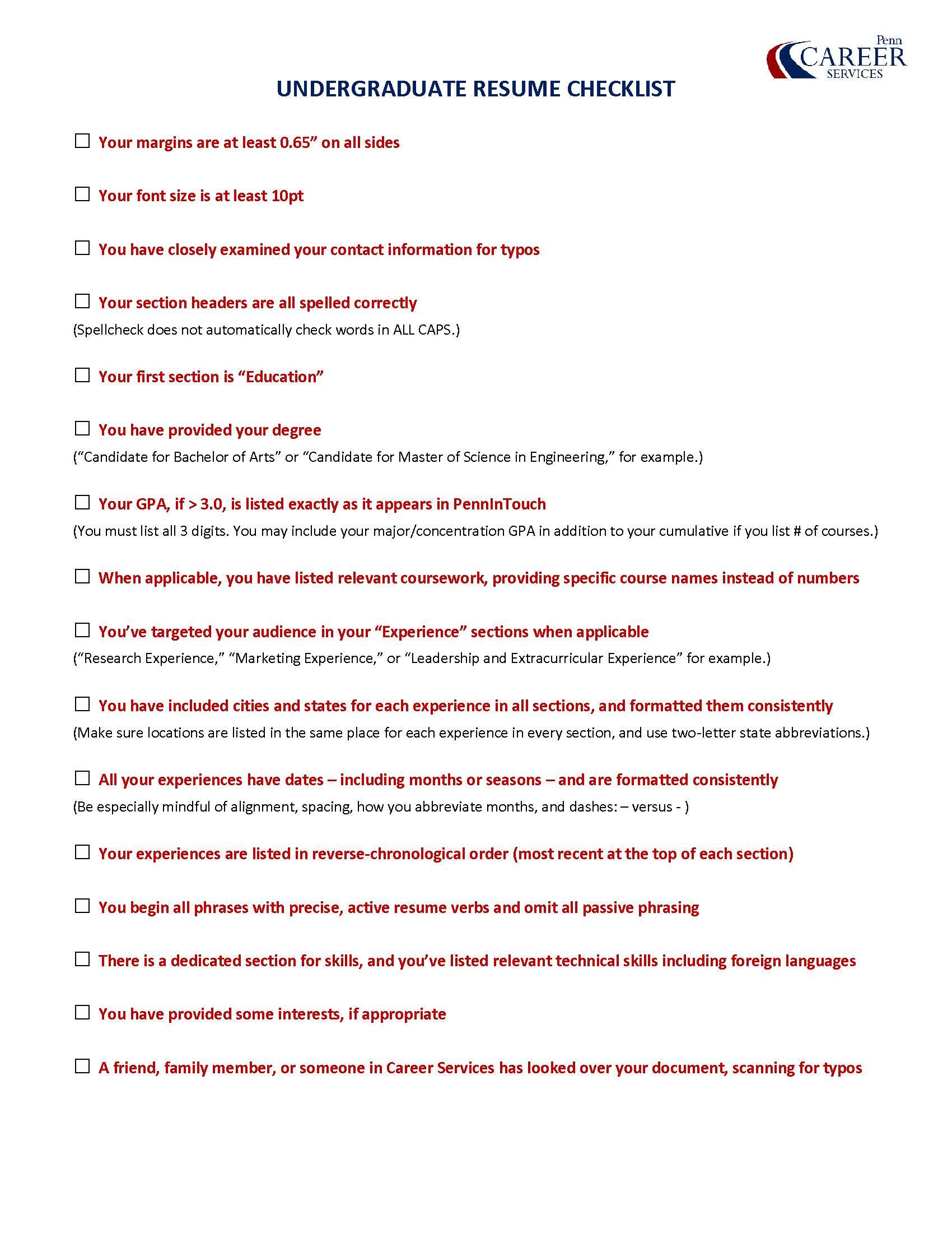career services undergrad resume checklist  u2013 career