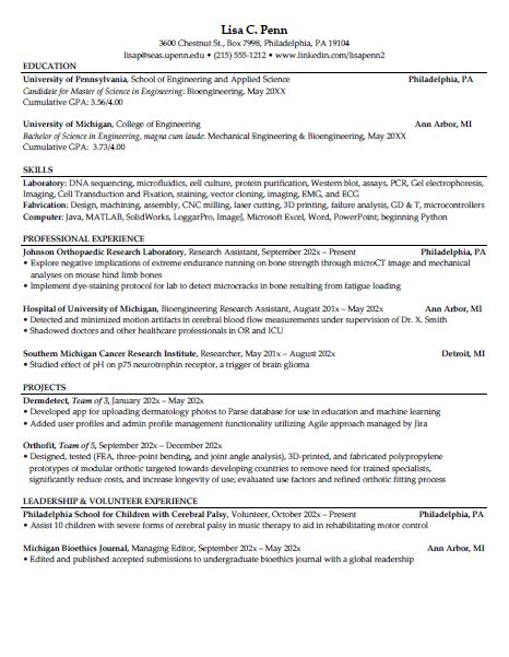 Master S Student Resume Samples Career Services University Of