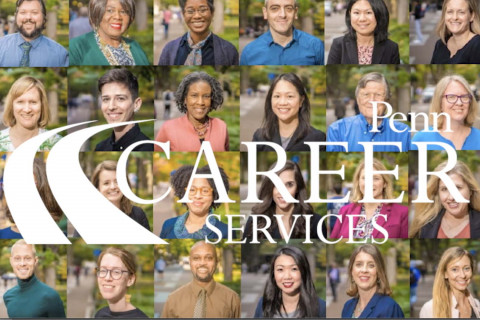 A collage of professional headshots for the staff of Career Services. The Penn Career Services logo is superimposed over it in white.