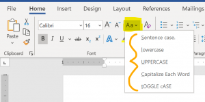 "Screenshot of the ""Home"" ribbon - in the ""Font"" section the ""Change Case"" button is highlighted."