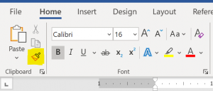 "Screenshot of the ""Home"" ribbon - in the ""Clipboard"" section the ""Format Painter"" button is highlighted."