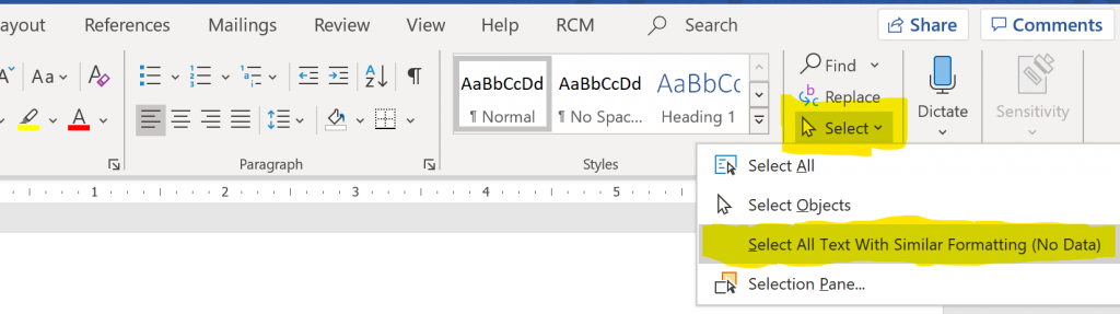 "Screenshot of the ""Home"" ribbon - in the ""Editing"" section the ""Select"" button is highlighted."