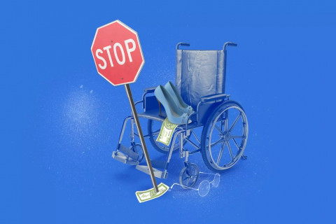 A wheelchair has crashed into a stop sign, which is tipping over. On the wheelchair, a pair of blue high heel pumps and several pieces of paper money.