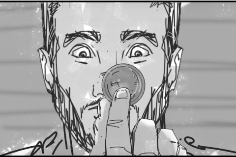 A black and white storyboard image of a young man holding a poker chip in front of his face. His eyes express shock for unknown reasons.