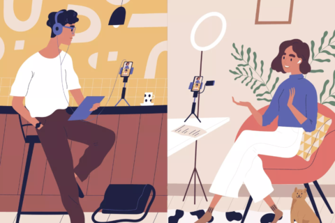 An illustration of a remote podcast being recorded. On the left, a brown skinned woman weaing headphones and holding a tablet computer speaks into a microphone on her table top. On the right, a brown skineed woman in a blue shirt sits in an orange chair, speaking into a microphone on her tabletop, a ring light sits about the microphone.
