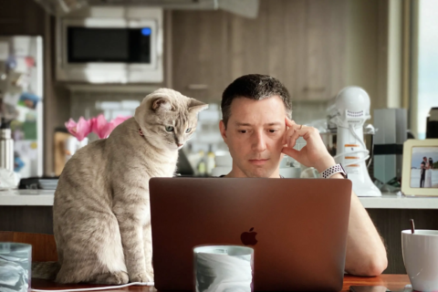 A man man sits in his kitchen working at his laptop, his left hand pressed to his temple as if contemplating something. To his right, a grey tabby cat stands on the table next to the laptop, staring at the screeen in equal contmeplation.