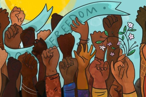 An illustaration of a variety of black and brown hands raised in fists, waving, or holdijg flowers. A banner reading