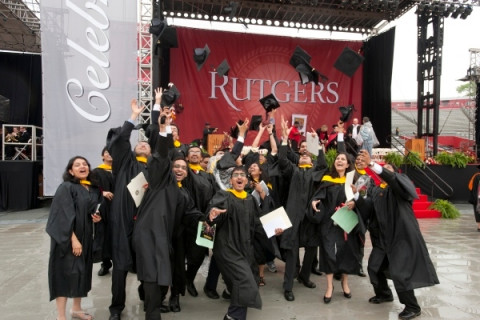 Students celebrate after the 2011 University Commencement