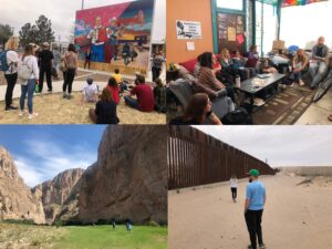 Images (clockwise from top left): Students learning about the history of Segundo Barrio through a mural tour with local artist; BSP in Annunciation House hearing from volunteers about their work; Students walking alongside the border wall in Anapra; Students hiking in Big Bend National Park.