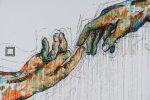 colorful drawing fingers touching