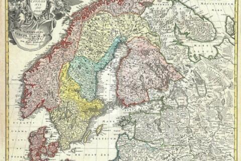 Old-world map of Scandinavia