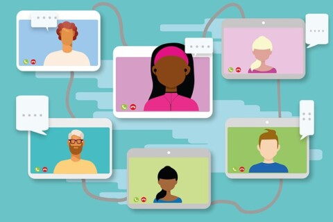 Cartoon graphic showing multiple people in a videoconference call