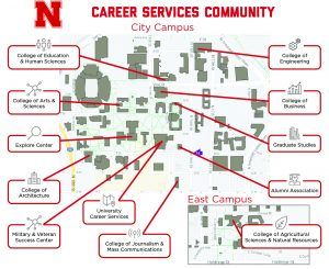 Map of Career Services Offices on the UNL Campus
