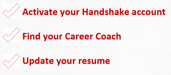 This image lists three steps for students to take when they arrive at UNL, including 1. Activate your Handshake account 2. Find your Career Coach 3. Update your resume
