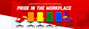 Rainbow colored office chairs on top of a layered image of the Union