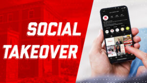 Text that reads Social Takeover accompanied by photo of person holding phone, scrolling through social feed