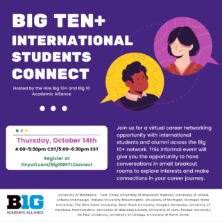 Big 10+ International Students Connect Graphic 1